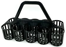 More details for 2 x glass carrier basket bottle collecting crate 10 compartment pub bar black