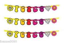 New 95cm Hippie Peace 1960's 60s 70s Party Card Garland Letter Banner Decoration