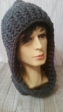 CHARCOAL GRAY HAT HOODED COWL SCARF SCOODIE CROCHET UNISEX  HAND MADE NEW