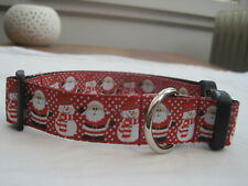 Christmas dog collar or lead Snowman and santa red grooming Gift Handmade