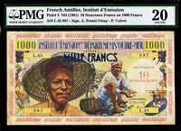 French Antilles 10 Nouveaux Francs on 1000 Francs 1961 Pick-2 Very Fine PMG 20