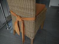 Stuhlkissen 40 x 40 x 4 cm Sitzkissen orange mit Schleife