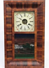"Early 19th C. All Original E.N. Welch Ogee Clock 26""H Reverse Painting Antique"