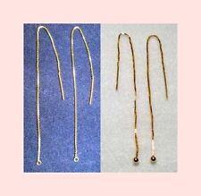 """3 Pair Threader VERMEIL (14k + 925 Silver) GOLD EAR THREAD 5"""" Loop +/or Ball End"""
