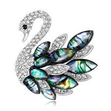 Abalone Shell Rhinestone Crystal Rhodium Plated Swan Animal Scarf Pin and Brooch