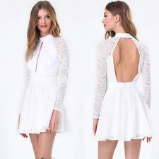 BEBE WHITE VIVIANE LACE OPEN BACK DRESS NWT NEW $159 MEDIUM M