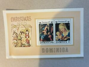 Dominica Christmas 1975 mini sheet stamps