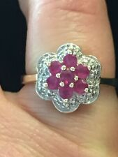 9ct Yellow Gold Ruby And Diamond Ruby Cluster Ring Size K