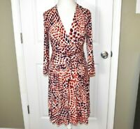 Banana Republic Issa London Dress Size Small Faux Wrap Long Sleeve Red
