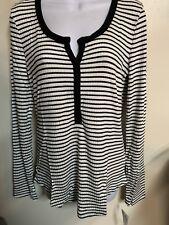 NWT THREE DOTS Long Sleeve Y Neck Striped Ribbed Shirt Top White Black MEDIUM M
