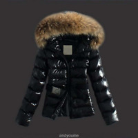 Womens Warm Winter Faux Leather Down Jacket Hooded Quilted Coat Parka Black New