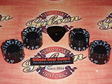Gibson Les Paul Knobs Speed Black Ridged Set Guitar Parts SG Custom ES HP Grip L