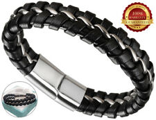 Surf Leather Bracelet Men Wristband Braided Magnetic Buckle Cuff Stainless Steel