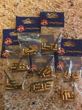 "Disney Lot Of 8 Pack of ""Brass"" Locking Trading Pin Backs with Key (NEW) 80pcs"