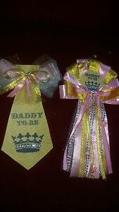 Mommy and Daddy Baby shower corsage and tie set gold and pink Princess crown