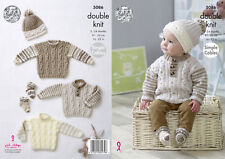 King Cole Baby Double Knitting Pattern Simple Cable Sweaters Hats & Socks 5086