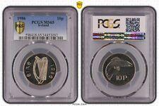 irish ireland eire 1986 10p ten pence pcgs ms65 rare coin