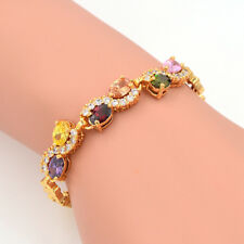 NEW Women Romantic Gold Plated Ovale Multicolor CZ Stones Charm Bracelet Jewelry