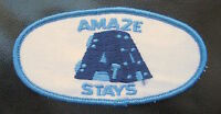 "AMAZE STAYS EMBROIDERED SEW ON  PATCH COMPANY BUSINESS ADVERTISING 4"" x 2"""