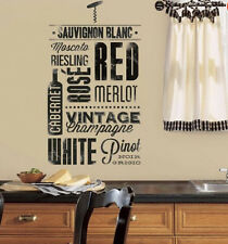 WINE LOVERS wall stickers 22 decals bottle corkscrew den bar kitchen Merlot Port
