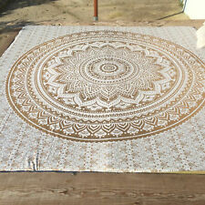 Indian Ombre Mandala White Gold Cotton Bed Set Cover Queen Decorate Bedspread