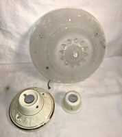 "Vintage MCM Frosted CUT GLASS Ceiling Light fixture 10"" LIGHT SHADE Grapes"