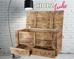 XXL Holztruhe geflammt mit 2 Schubladen und Kordel 85 x 39 x 40 cm DIY Truhe