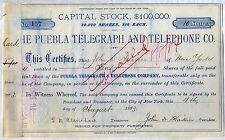 Puebla Telegraph & Telephone Co. Stock Certificate New York
