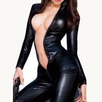 Women Vinyl PVC Wetlook Leather CATSUIT CLUBWEAR Bodysuit Motor Jumpsuit Black