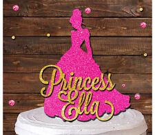 PRINCESS DRESS CUSTOM NAME GLITTER CAKE TOPPER FAIRY BIRTHDAY PARTY DECORATION