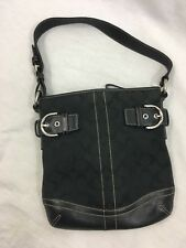 Coach Signature C Small Purse Pocketbook Shoulder Bag Black Canvas Leather