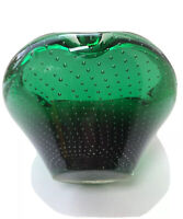 """Mid Century 6"""" Green Art Glass Bullicante Controlled Bubble Murano? Ashtray Bowl"""
