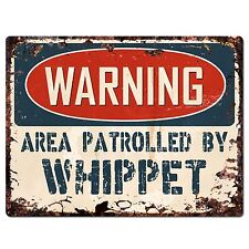 Pp2473 Warning Area Patrolled By Whippet Plate Chic Sign Home Decor
