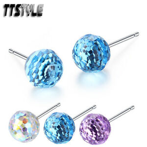 TTStyle 4mm 925 Sterling Silver Made with Swarovski Crystal Earrings 3 Colours