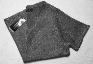 CROSSROADS Womens 18 Metallic Knit Lurex Top Gun Metal Grey Short Sleeve V-Neck