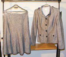 Ensemble jupe + veste grise chiné marque « Camaïeu » taille 40 100 % lin