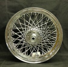 """Chrome Twisted 80 Spoke 16"""" x 3"""" Front Wheel for Harley FL Dual Disc 73'-84'"""
