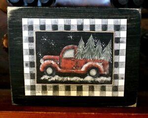 Buffalo Check Christmas Tree Red Truck Farmhouse Sign Block Shelf Sitter 3.5X4.5