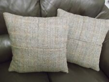 HARRIS TWEED CUSHIONS 4 PIECE HAMISH HERRINGBONE COMPLETE WITH FEATHER INNERS.