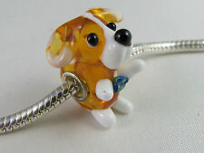 CUTE SINGLE SILVER CORE 3D ANIMAL BEAD  EURO STYLE CHARM BRACELETS - DOG # 3a