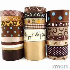20x1Yard Cartoon Satin Grosgrain Ribbon 9mm--38mm Assorted 20 Styles Brown Craft