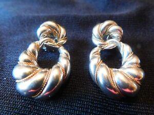 Tiffany & Co Sterling Silver 18K Yellow Gold Twist Omega Earrings