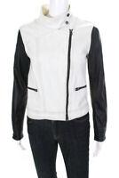 Rag & Bone Womens Leather Cotton Notched Collar Zip Jacket White Black Size XS