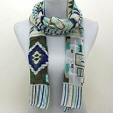 "Blue Grey Tribal Pattern  28"" x 66"" Polyester Fashion Long Scarf"