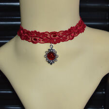 Red Choker Gothic Vintage Classic Lace Lolita Collar Necklace & Pendant