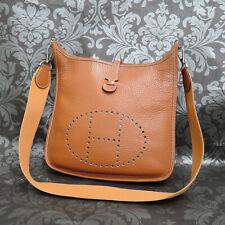 HERMES Evelyne PM Taurillon Clemence Leather Brown Shoulder bag  #254 Rise-on