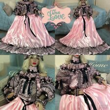LUXURY SILKY SATIN POLKA LACE SISSY MAID BABY PUFF SLEEVE SWEEPING NEGLIGEE GOWN