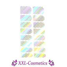 16 x Nagelfolie Nail Art Stripes Folie Silber Hologram Sternchen #NF-24