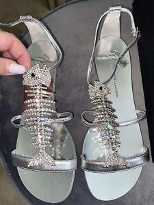 GIUSEPPE ZANOTTI sandals shoes FISHBONE CRYSTAL SILVER SZ38 BNIB $1,195