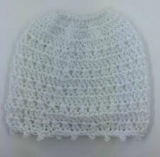 MESSY BUN ~ PONY TAIL HAT   WOMEN'S BEANIE ~ HAND CROCHET   WHITE ~SILVER SPARKL
